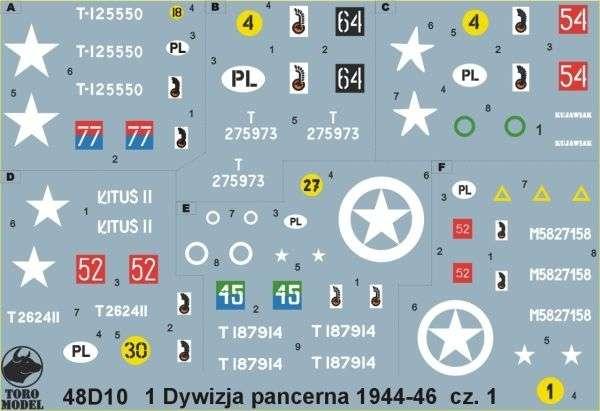 Kalkomania 1 Dywizja Pancerna 1944-46 cz. 1, polska kalkomania do modeli w skali 1/48.