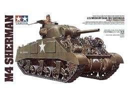 Amerykański czołg Medium M4 Sherman (wczesna produkcja), plastikowy model do sklejania Tamiya 35190 w skali 1:35