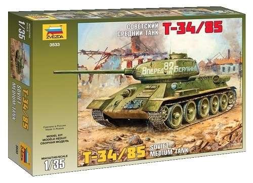 Radziecki czołg T-34/85, plastikowy model do sklejania Zvezda 3533 w skali 1:35-image_Zvezda_3533_1