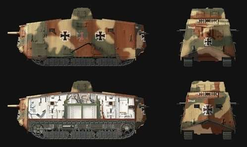 Malowania modelu czołgu A7V w skali 1:35.