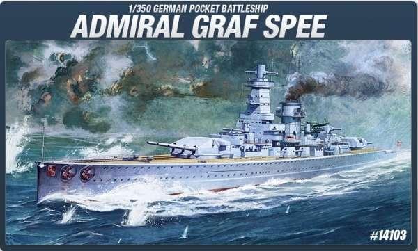 Niemiecki ciężki krążownik Admiral Graf Spee, plastikowy model do sklejania Academy 14103 w skali 1:350