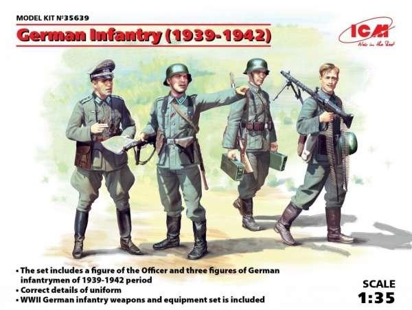 Niemieccy żołnierze z lat 1939 - 1942, plastikowe figurki do sklejania ICM 35639 w skali 1:35