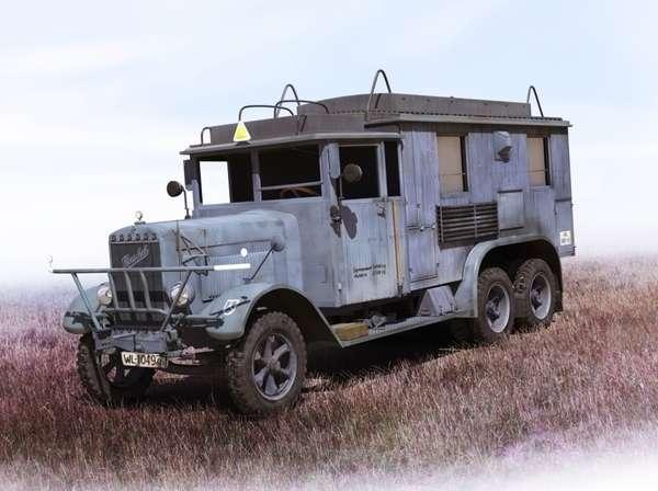 Niemiecka ciężarówka komunikacji radiowej Henschel 33 kfz.72, plastikowy model do sklejania ICM 35467 w skali 1:35
