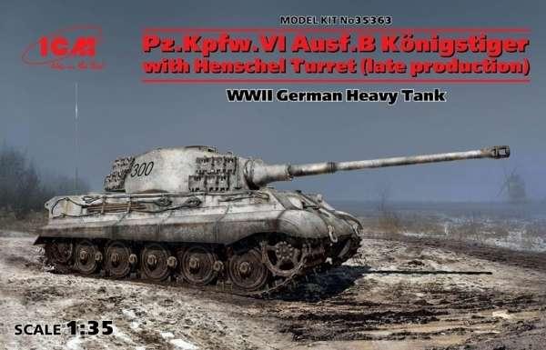 Niemiecki czołg ciężki Panzerkampfwagen VI Ausf.B Tiger II, plastikowy model do sklejania ICM 35363 w skali 1:35.