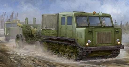 Rosyjski średni ciągnik artyleryjski ATS wraz z haubicoarmatą MŁ-20 152 mm, plastikowy model do sklejania Trumpeter 09514 w skali 1:35