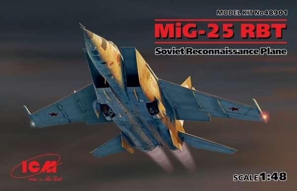 Radziecki samolot rozpoznawczy MiG-25 RBT, plastikowy model do sklejania ICM 48901 w skali 1:48