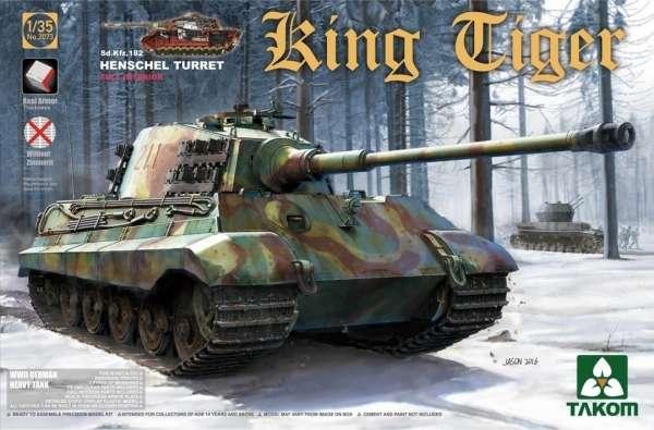 Niemiecki ciężki czołg Sd.Kfz.182 King Tiger z wieżą Henschel oraz pełnym wnętrzem, plastikowy model czołgu do sklejania Takom 2073 w skali 1:35