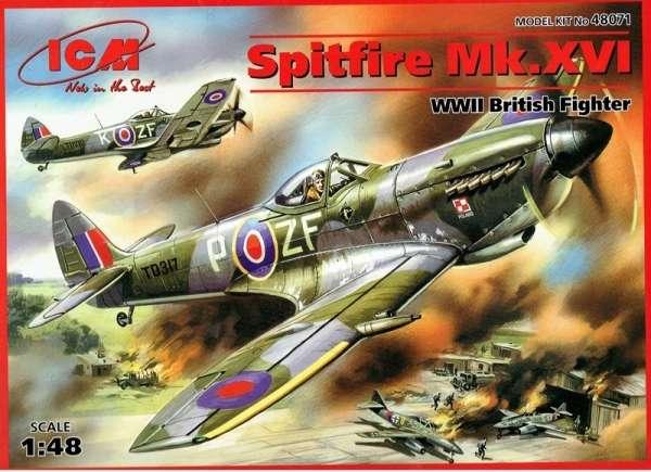 Brytyjski samolot myśliwski Spitfire Mk.XVI, plastikowy model do sklejania ICM 48071 w skali 1:48-image_ICM_48071_1
