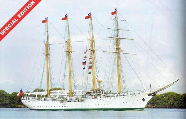 Czteromasztowa barkentyna chilijskiej marynarki wojennej Esmeralda , drewniany model do sklejania Billing Boats BB730 w skali 1:100