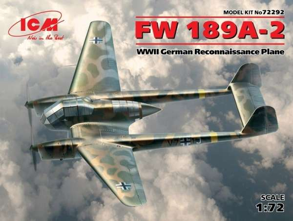 Niemiecki rozpoznawczy samolot Focke-Wulf Fw 189A-2, plastikowy model do sklejania ICM 72292 w skali 1:72