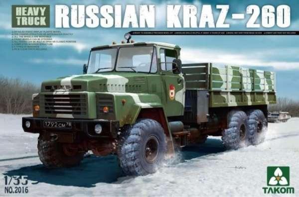 Rosyjska ciężka ciężarówka wojskowa Kraz-260, plastikowy model do sklejania Takom 2016 w skali 1:35