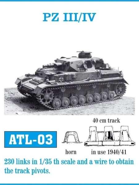 Metalowe gąsienice do modelu Panzer III / IV w skali 1:35, Friulmodel ATL-03