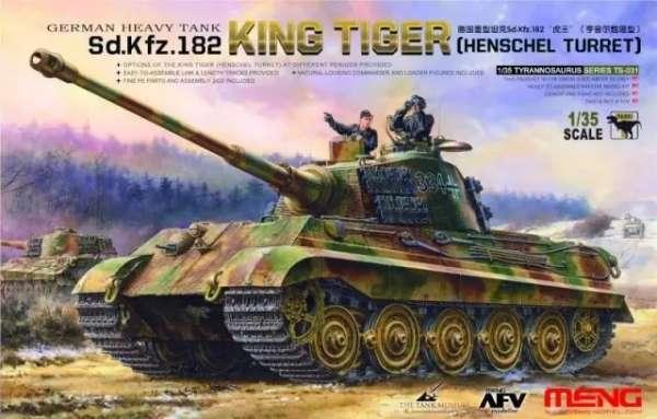 Plastikowy model redukcyjny do sklejania niemieckiego czołgu ciężkiego King Tiger - model Meng TS-031 w skali 1:35.