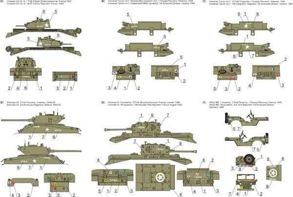 Kalkomania - 1 Dywizja Pancerna 1944-46 cz.1  skala 1-48