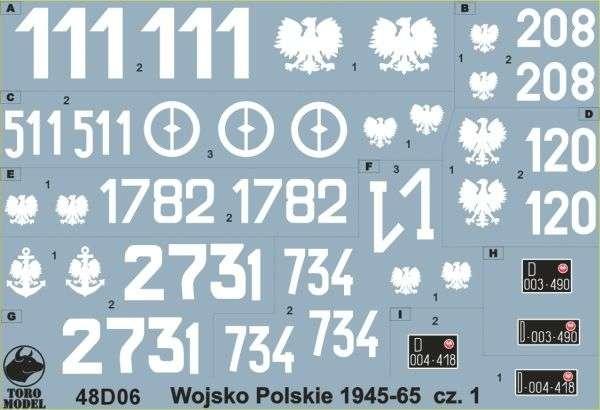 Kalkomania Wojsko Polskie 1945-65 cz. 1, polska kalkomania do modeli w skali 1/48.