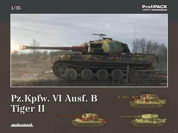 Plastikowy model niemieckiego czołgu do sklejania Tygrys Królewski w skali 1:35, model Eduard 3715.