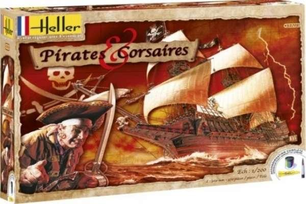 Zestaw modelarski - galeon Golden Hind w wersji pirackiej w skali 1:200, zestaw Heller 52703 Pirates and Corsaires z farbami, klejem i pędzlem.