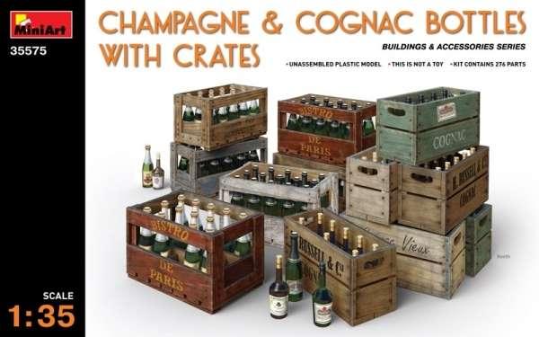 Dodatki do modeli - skrzynki z butelkami szampana i koniaku, plastikowy model do sklejania MiniArt 35575 w skali 1:35.