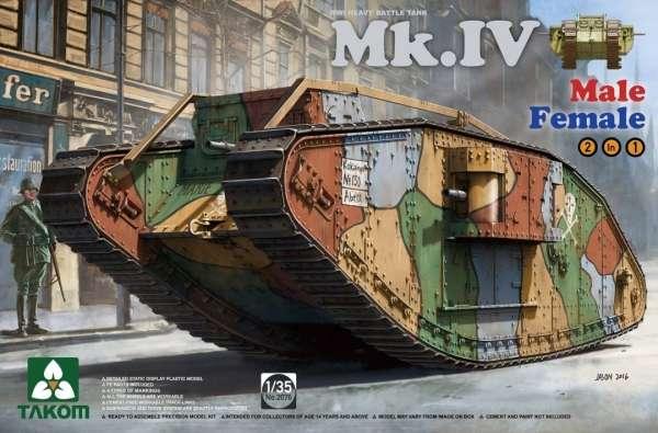 Brytyjski czołg Mark IV w wersji Male/Female, plastikowy model do sklejania Takom 2076 w skali 1:35