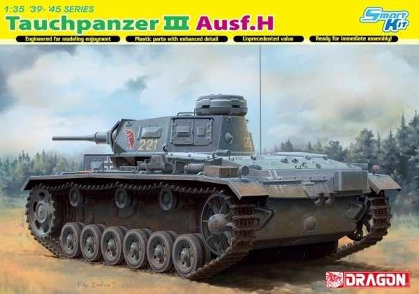 Niemiecki czołg Panzerkampfwagen III (Tauchpanzer III Ausf.H) do działań pod wodą, plastikowy model do sklejania Dragon 6775 w skali 1:35