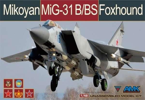 Radziecki myśliwiec Mig31 B/BS Foxhound, plastikowy model do sklejania AMK 88008 w skali 1:48