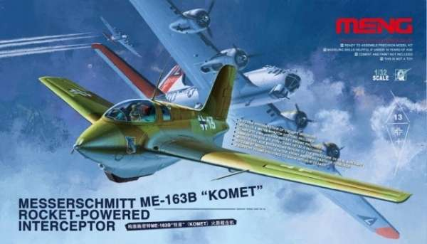 Niemiecki myśliwiec przechwytujący o napędzie rakietowym Messerschmitt Me 163B Komet, plastikowy model do sklejania Meng QS-001 w skali 1:32