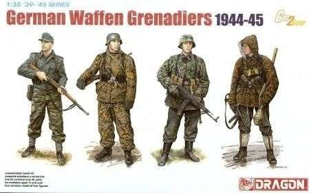 Niemieccy żołnierze z okresu II wojny światowej., plastikowe figurki do sklejania Dragon 6704 w skali 1:35