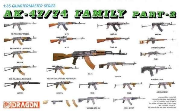 Karabiny z rodziny AK-47/74 , plastikowa broń Dragon 3805 zestaw 2 w skali 1:35