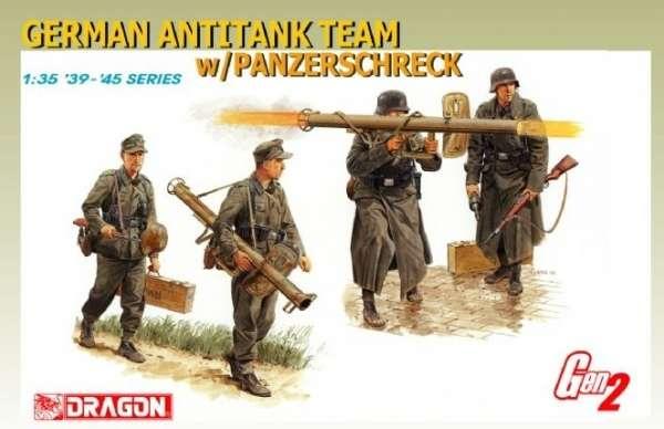 Niemiecki zespół przeciwpancerny wyposażony w granatnik rakietowy Panzerschreck, plastikowe figurki do sklejania Dragon 6374 w skali 1:35