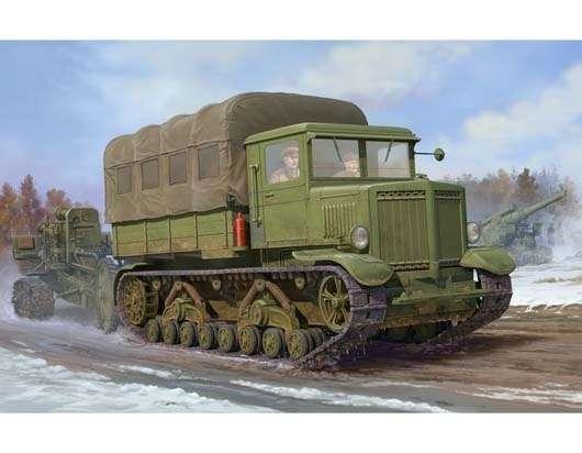 Radziecki gąsienicowy ciągnik artyleryjski Woroszyłowiec , plastikowy model do sklejania Trumpeter 01573 w skali 1:35