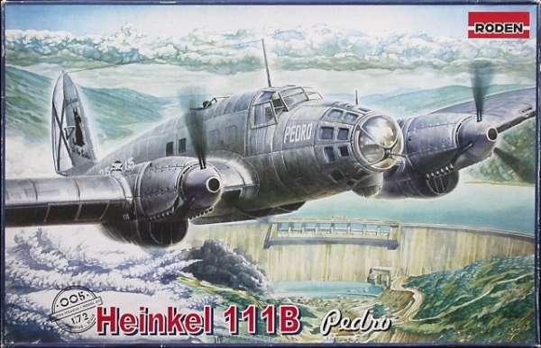 Niemiecki podstawowy średni bombowiec Heinkel He 111B Pedro, plastikowy model do sklejania Roden 005 w skali 1:72