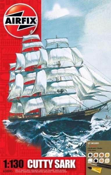 XIX - wieczny kliper herbaciany Cutty Sark, plastikowy model do sklejania Airfix 50045 w skali 1:130 zestaw z farbami, klejem i pędzelkami.-image_Airfix_50045_1