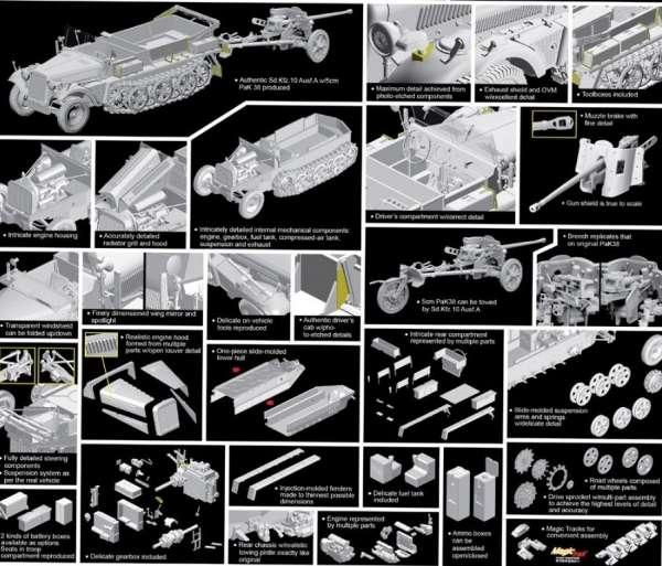 Dragon 6732 w skali 1:35 -model do sklejania Sd.Kfz.10 Ausf.A w/5cm PaK 38 - image b