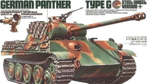 Niemiecki czołg Panther typ G wersja ze stalowymi kołami, plastikowy model do sklejania Tamiya 35174 w skali 1:35.