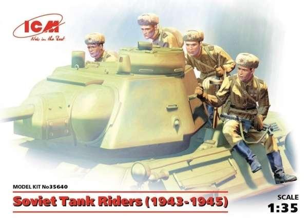 Radzieccy żołnierze na czołgu - lata 1943-45, plastikowe figurki do sklejania ICM 35640 w skali 1:35