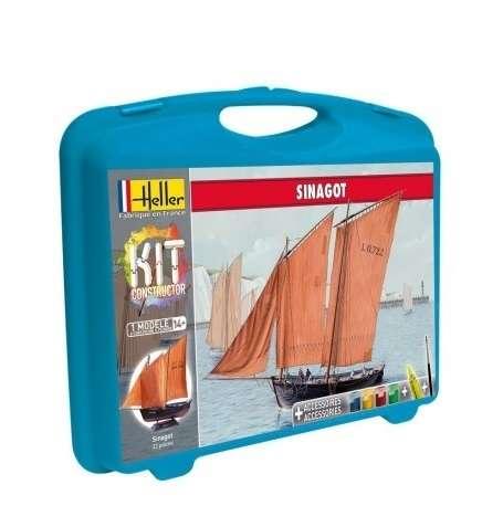 Zestaw modelarski Heller 60605 - statek żaglowy Sinagot z farbami, klejem i pędzlem, plastikowy model do sklejania w skali 1:60