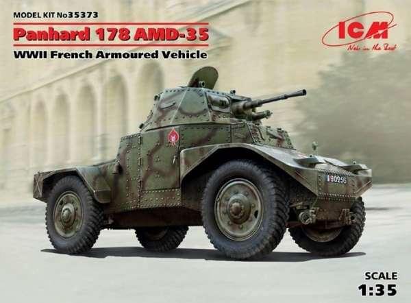 Francuski samochód pancerny Panhard AMD-35, plastikowy model do sklejania ICM 35373 w skali 1:35