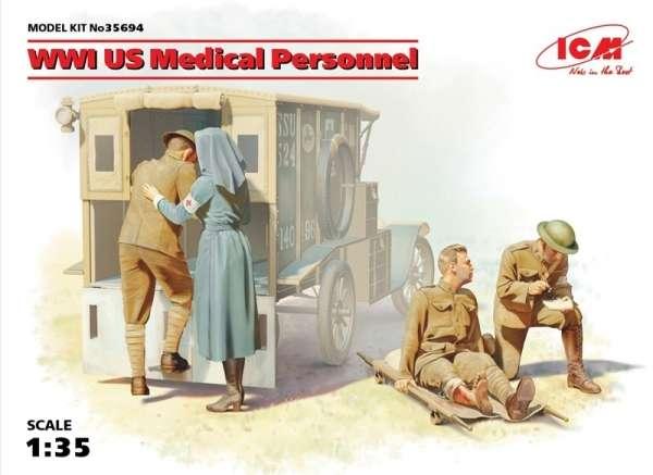 Personel medyczny z czasów I wojny światowej, plastikowe figurki do sklejania ICM 35694 w skali 1:35