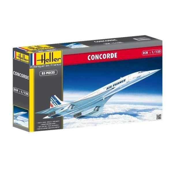 Naddźwiękowy samolot pasażerski Concorde, plastikowy model do sklejania Heller 80445 w skali 1:125.