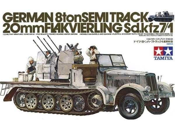 Plastikowy model do sklejania niemieckiego transportera półgąsienicowego Sdkfz 7 z działkiem plot 20mm.