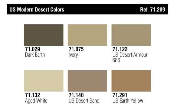 Kolory farb - zestaw Vallejo 71209 US Modern Desert Colors