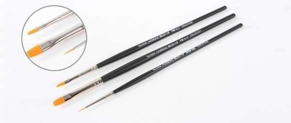 Zestaw 3 modelarskich pędzelków - ze specjalnym syntetycznym włosiem przeznaczonym do malowania modeli, Tamiya 87067