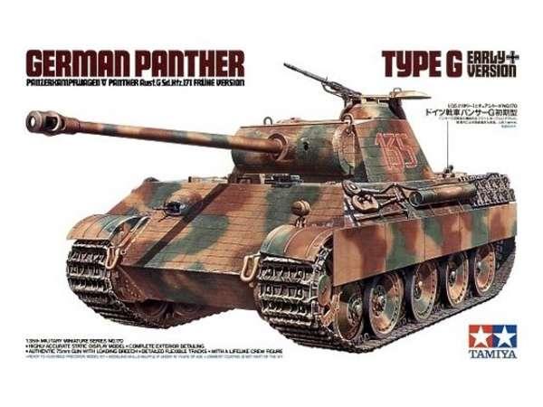 Niemiecki czołg Pz.Kpfw. V Panther typ G wczesna wersja, plastikowy model do sklejania Tamiya 35170 w skali 1:35.