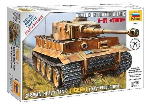 Niemiecki czołg ciężki Tiger I, plastikowy model do składania (ew. sklejania) Zvezda 5002 w skali 1:72.