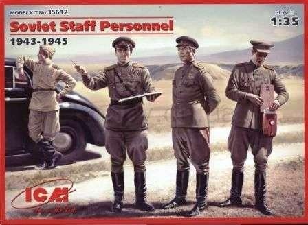 Dwóch radzieckich generałów, oficer oraz kierowca, plastikowe figurki do sklejania ICM 35612 w skali 1:35