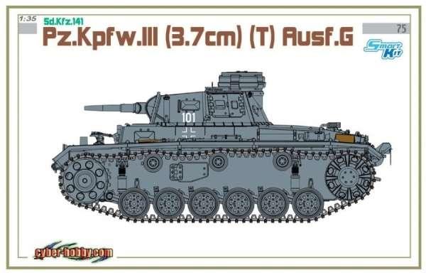 Plastikowy model do sklejania niemieckiego czołgu PZ III w wersji G, model Dragon 6765 w skali 1:35.