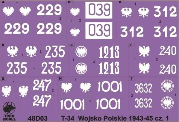Kalkomania - Czołgi T-34 w Wojsku Polskim 1943 - 1945 - skala 1:48, 48D03