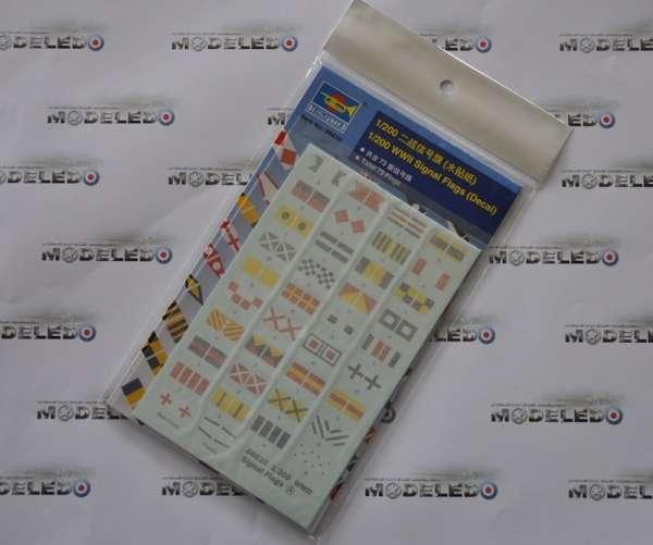 Kalkomania - zestaw 73 flag sygnalizacyjnych w skali 1:200 - zestaw Trumpeter 06630