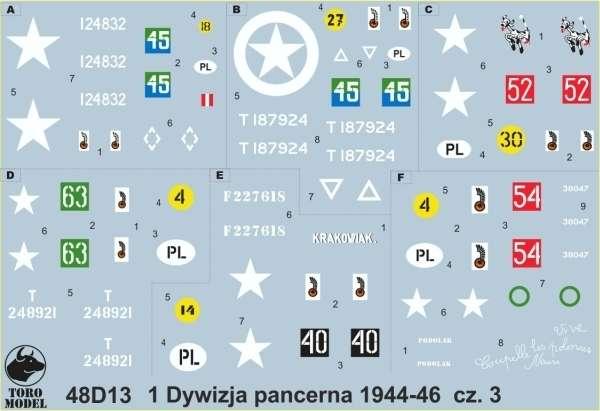 Kalkomania 1 Dywizja Pancerna 1944-46 cz. 3, polska kalkomania do modeli w skali 1/48.