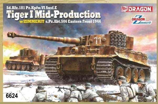 Niemiecki czołg ciężki PZ VI E Tiger I z zimmeritem, plastikowy model do sklejania Dragon 6624 w skali 1:35-image_Dragon_6624_1